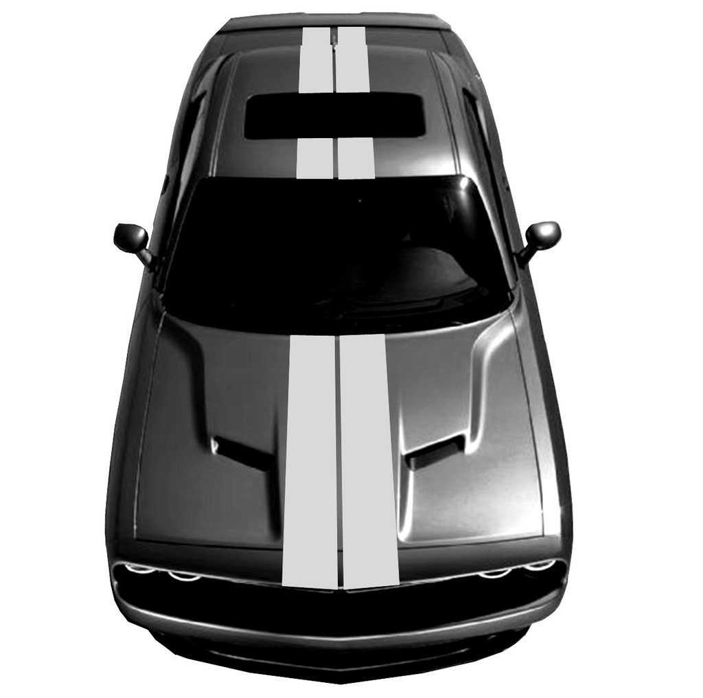 Amazon com 9 double center carbon fiber vinyl racing stripes fits dodge challenger silver automotive