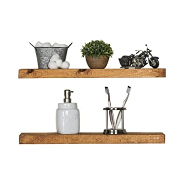 Floating Wall Shelves (Set of 2), Handmade Shelf Made of Rustic Pine by del Hutson Designs (2 x 24 x 5.5-Inch), Walnut Color