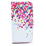 Moto G Case ,Camiter Colorful Petal Design Premium PU Leather Wallet Folio Protective Skin Cover Case for Motorola Moto G XT1032(Not Fit For Motorola G 2nd Gen)(With Stand Function/ Card Slot)