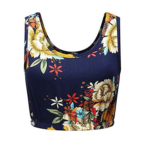T con maniche bretelle scuro stampa rotondo blu Gilet donna Fashion da shirt di Topkeal senza 5Aafgn0xx