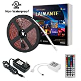 Laimante RGB Led Strip Lights Kit,150 Units 5050 LEDs,16.4ft/5m 12V DC Led Ribbon, Extra Adhesive 3M Tape,44 Key IR Remote Controller and UL Listed Power Adapter Included, Led Tape, Home Decoration Lighting