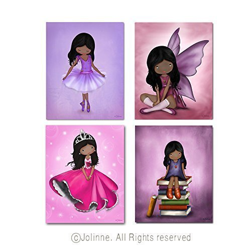 African American Bedroom Pictures Girls Room Decoration Kids Posters Illustrations Ballerina Princess Angel Custom Hair Skin Color Unframed 8x10 / 11x14 Prints