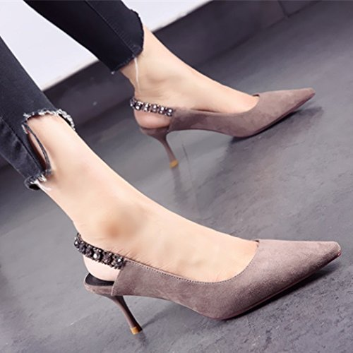 Work Elegant Leisure Banquet Heels 7Cm Head Pointed Shoes Shoes Lady MDRW Sexy Water Single Mouth Suede Shallow Grey High Wedding Heel Drill 37 Spring Fine E5q1AtAwn