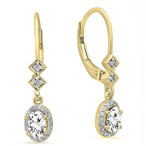 10K Yellow Gold 5X3 MM Each Oval White Sapphire & Round Diamond Ladies Dangling Drop Earrings