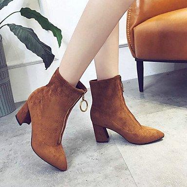 RTRY Zapatos De Mujer Moda Otoño Invierno De Terciopelo Botas Botas De Combate Slouch Botas Botas Chunky Talón Señaló Toe Botas Mid-Calf Conjunta Dividida Zipper US8 / EU39 / UK6 / CN39