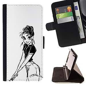 Momo Phone Case / Flip Funda de Cuero Case Cover - Chica Dibujo al lápiz Sexy Look Shorts Big Eyes - Sony Xperia Z2 D6502