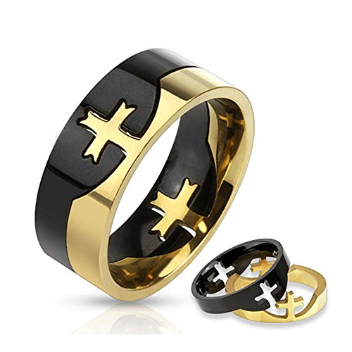 West Coast Jewelry Cross Puzzle Two Tone Stainless Steel Ring - Size (Mens Two Tone Cross)