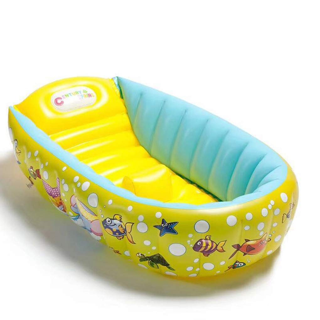 Portable Baby Inflatable Bath Tub Yellow Better men Cartoon Pattern Non-Slip Anti-Fall Inflatable Folding Collapsible Bathtub seat for Infant babyTub /…