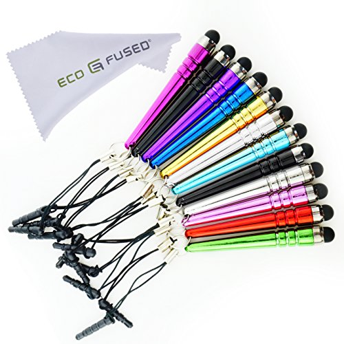 ECO-FUSED 10 Pack Bling Metal Stylus Pens - Universal (Red, Purple, Hot Pink, Light Blue, Blue, Green, Gold, Silver,Light Pink, Orange, Black) ()