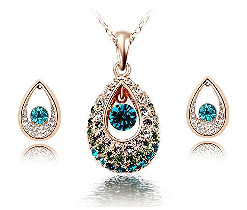KATGI Fashion Austrian Crystal Angel Teardrop Pendant Necklace & Earrings (Set of 2) (Gold Green)