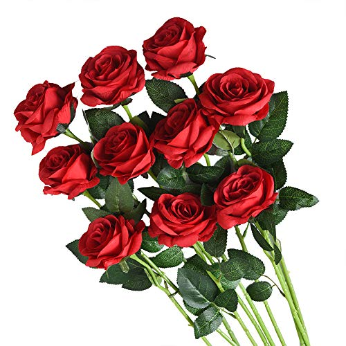 Artificial Flowers Roses Silk Flowers Fake Long Stem Red Artificial Roses for Wedding Home Decorations in Red 10pcs Rose Flowers ()