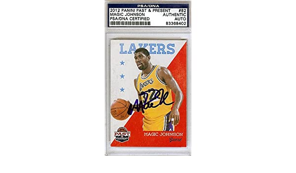 77ece7df0e01 Magic Johnson Signed 2012 Panini Past and Present Card  82 Los Angeles  Lakers - PSA DNA Authentication - NBA Basketball Trading Cards at Amazon s  Sports ...
