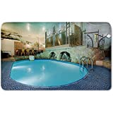 Memory Foam Bath Mat,Modern Decor,Vivid Blue Swimming Pool in Spa Interior Resort Relaxation Theraphy ThemePlush Wanderlust Bathroom Decor Mat Rug Carpet with Anti-Slip Backing,Blue Aqua Beige