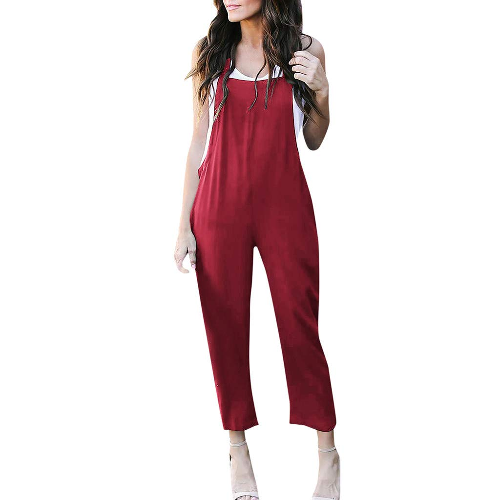 iYYVV Womens Summer Solid Sleeveless Long Trouser Playsuits Bib Pant Jumpsuit Rompers