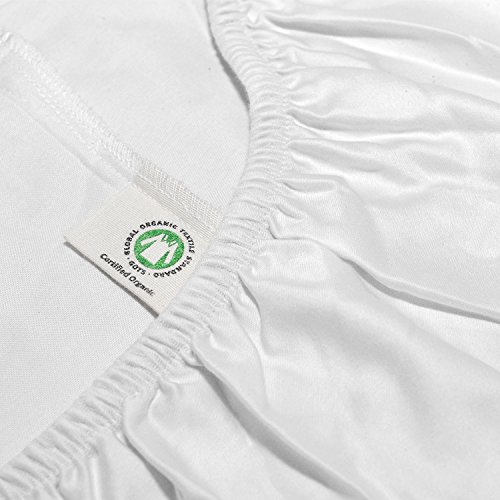Whisper Organics Organic Cotton Fitted Bed Sheet G.O.T.S. Certified 400 Thread Count (White, King)