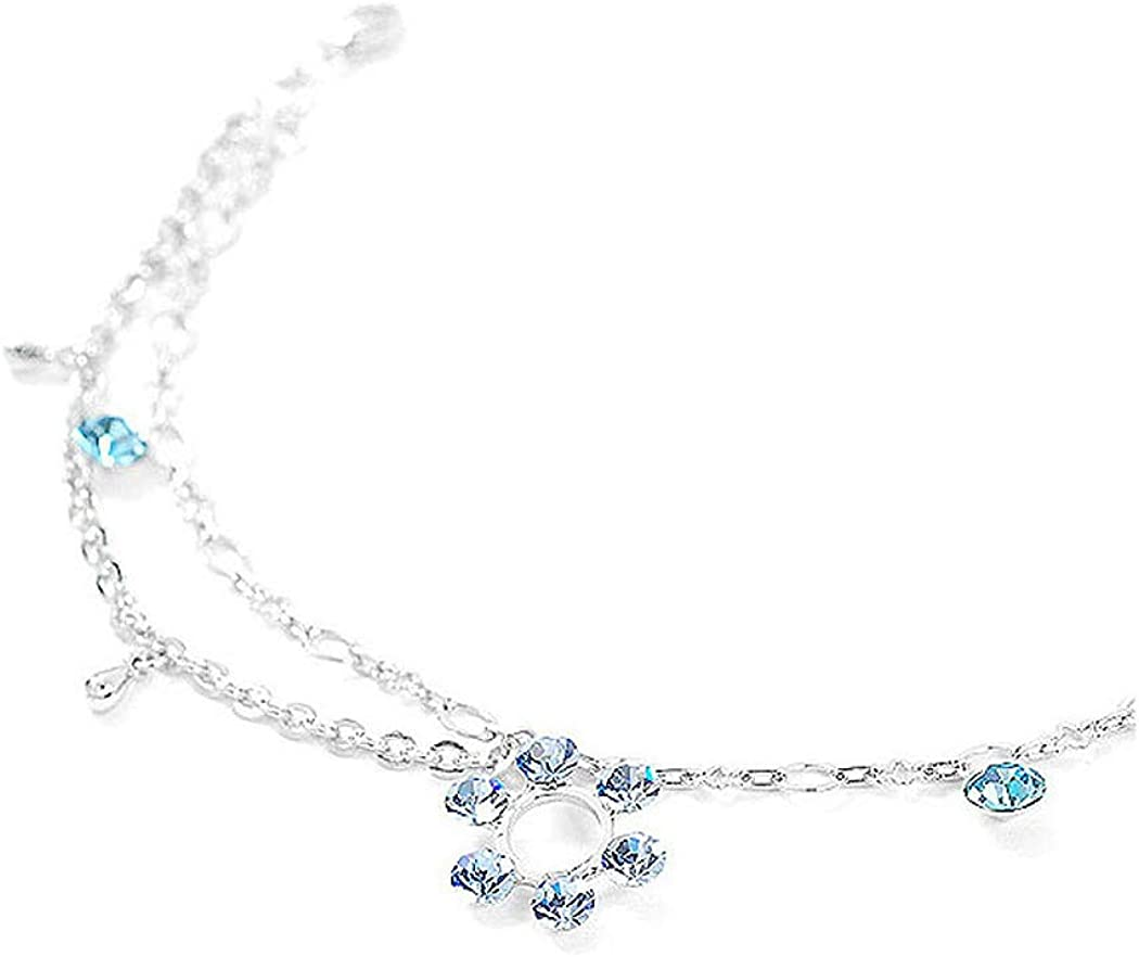 1818 Glamorousky Flower Anklet with Blue Austrian Element Crystals