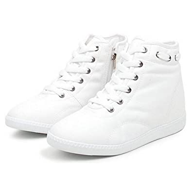 Ladies Gilrs Lace up Hidden Wedge Canvas Casual Sneaker Athletic Trainers Shoes