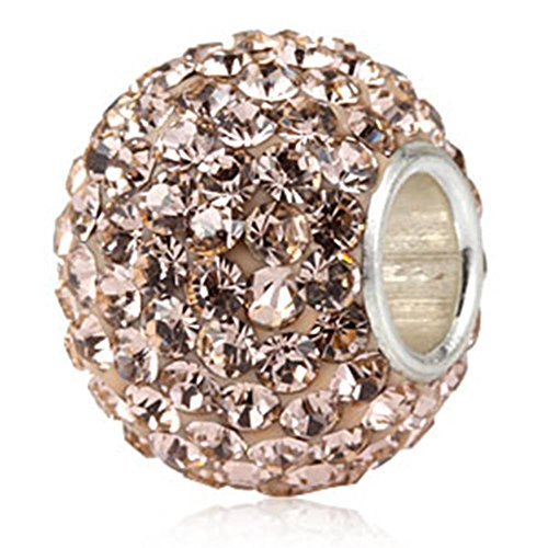 (Jan-Dec Birthstone Charm Beads Silver 925 Core Austrian Crystal Round Ball Charms fit All Charm Bracelets Women Girls Gifts Light Peach Color )