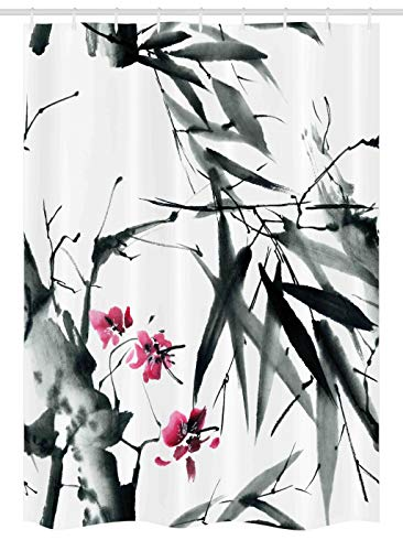 Ambesonne Traditional House Decor Stall Shower Curtain Natural Sacred Bamboo Stems Cherry Blossom Folk Art Print Fabric Bathroom Set With Hooks 54