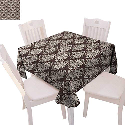 (Damask Customized Tablecloth Victorian Floral Pattern with Blooming Foliage Leaves on Dark Toned Backdrop Tablecloth That can be Used as a Tapestry 36
