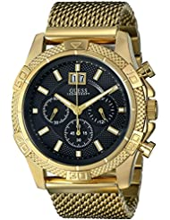 GUESS Mens U0205G1 Sporty Stainless Steel Multi-Function Watch with Chronograph Dial and Mesh Pilot Buckle