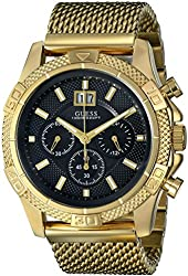 GUESS Men's U0205G1 Mesh Gold-Tone Chronograph Watch