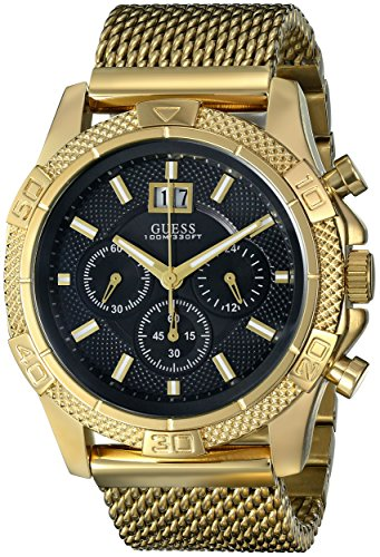 GUESS Men's U0205G1 Sporty Stainless Steel Multi-Function Watch with Chronograph Dial and Mesh Pilot Buckle