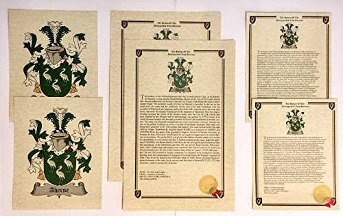 Whitmore - Last Name History and Coat of Arms from England Print Set (2 Pack) ()
