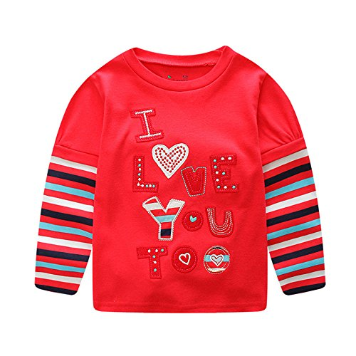Leedford Valentine's Day Gift, Kids and Toddler Letter Printing I Love You Too Long Sleeve Cotton Blouse Tops T-Shirt (4T, Red)