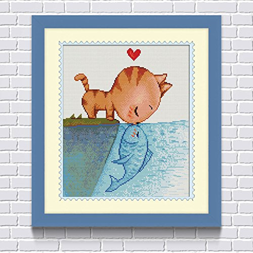 Faraway Cat Kiss Fish DIY Diamond Painting Kids Paint Number Kit, Diamond Embroidery Anime Cartoon Decoration Kid's Room 16X20inch