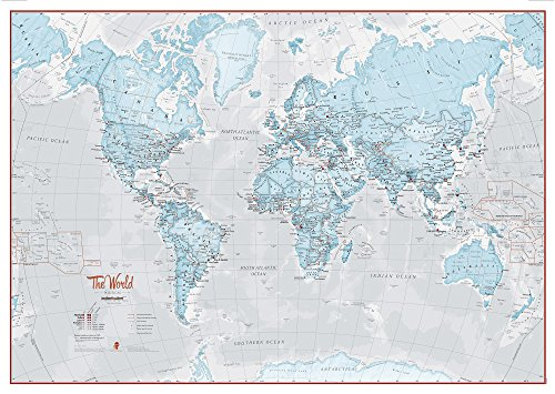 World Map Art Aqua - Silk Art (Accurate Map)