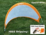 GoalPro Pop Up Soccer Goal - Two Portable Soccer Nets With Carry Bag - Size 4' Ft (Orange)