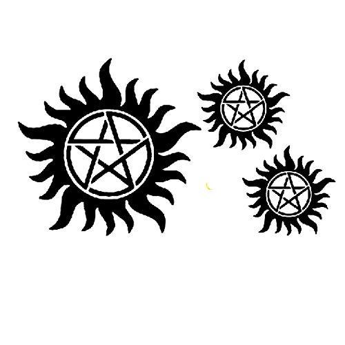 Yeeech Supernatural Merchandise Anti Possession Pentagram Sun Circle Star Designs Dark Mark Temporary Tattoos Sticker Black for Men Women Adults Large (2 Sheets)