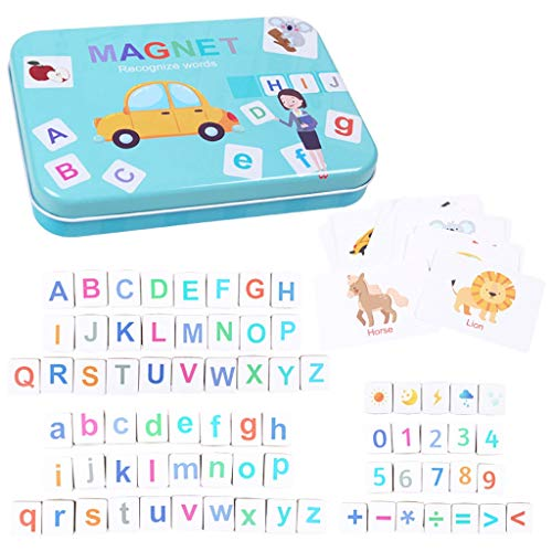 Iusun Matching Letter Game Develops Alphabet Words Numbers Motor Skills Early Education Toys Learning Developmental Tools Gifts,30pcs Cards in Iron Box (A)
