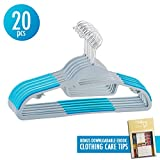 Mighty Hanger 1.2 Clothes Hangers Organizer, 360-degree Swivel Steel Hook Nonslip S-shape Shoulder Anti-Wrinkle and Space Saving Design for Tie Belt Suit Shirt Drying 20 pcs, Baby Blue