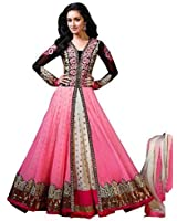 Globalia Creation Women's Pink Net Indo-Western Dress Material (Sarty_6.4_Pink White_Free Size)