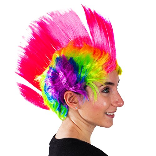 Rainbow Mohawk Wig - Groovy Rainbow Mohawk Wig Costume Accessory -