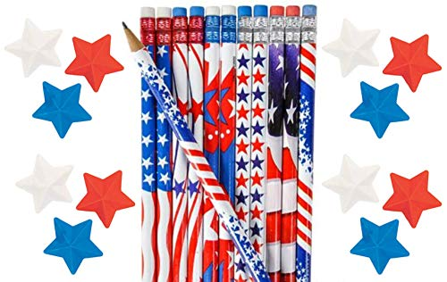 - Nikki's Knick Knacks Patriotic Pencils and Star Erasers- 48 Piece