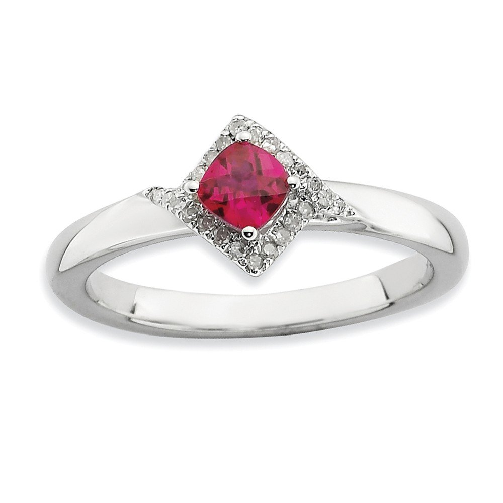 Top 10 Jewelry Gift Sterling Silver Stackable Expressions Polished Cr. Ruby & Dia Ring