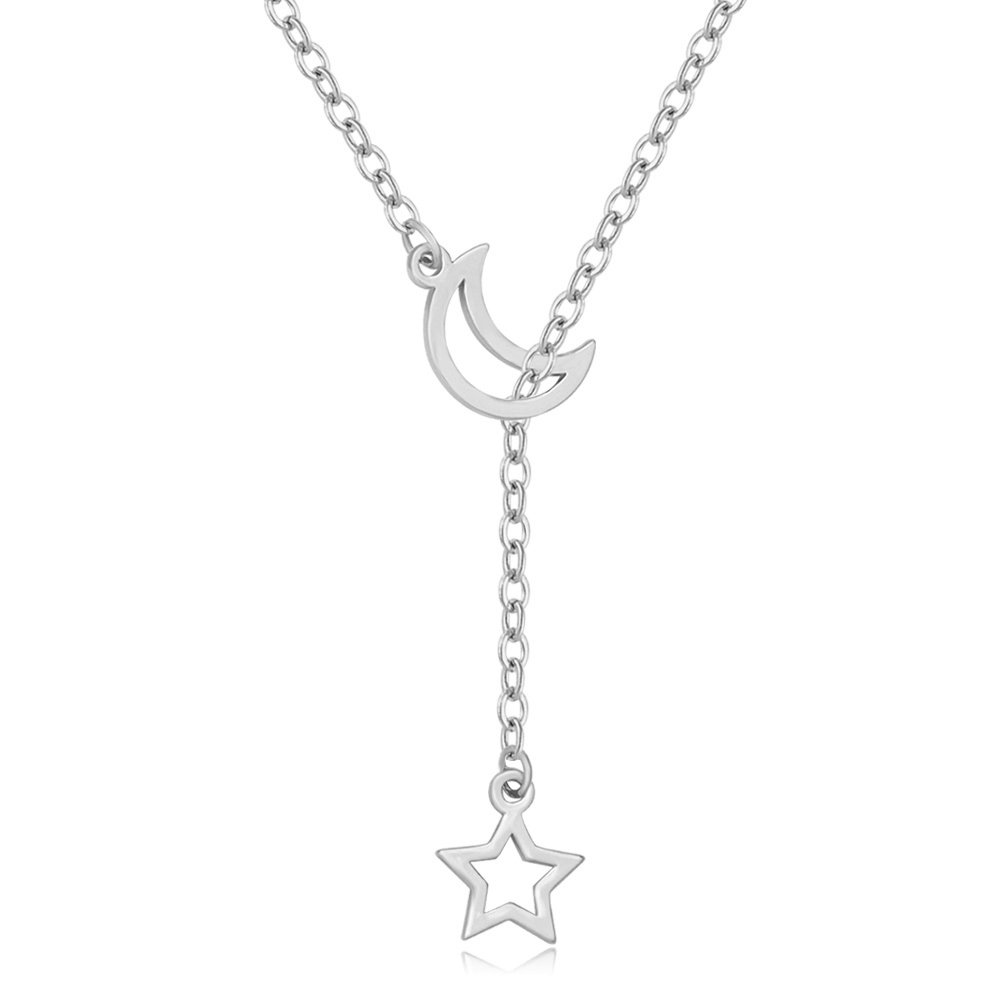 MANZHEN Simple Crescent Moon and Star Y Necklace Half Moon Necklace Lariat Style (Silver) by MANZHEN