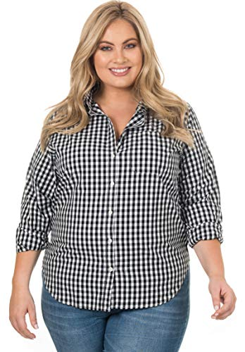 Chek Chart - CAMIXA Women's Gingham Shirt Plus Size Checkered Casual Curvy Button Down Plaid X2 Black