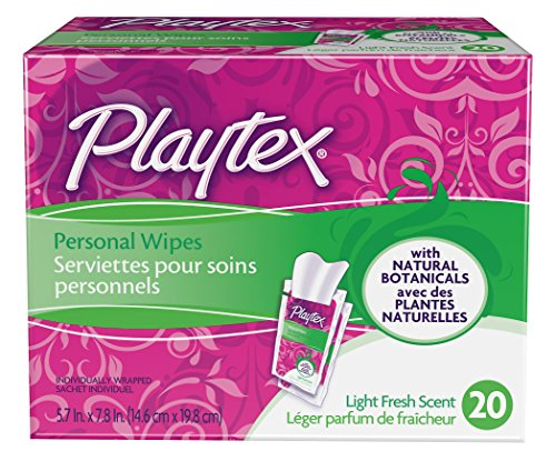 Playtex Personal Cleansing Cloths Singles, Light Fresh Scent 20ct Boxes(Pack of 5)