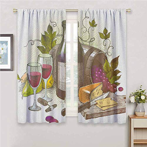 hengshu Wine Black Out Curtains for Bedroom Vintage Style Composition with Wine and Cheese Fruits Gourmet Taste Beverage and Food Home Decor Sliding Door Curtains W62 x L84 Inch Multicolor from hengshu
