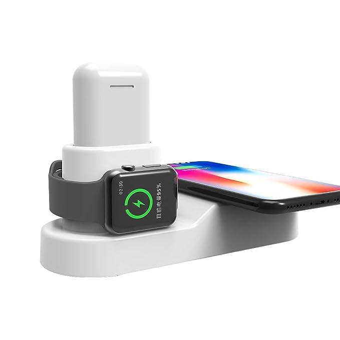Doshin - Cargador inalámbrico para Apple Watch, cargador inalámbrico 4 en 1, estación de carga rápida con adaptador USB para AirPods, iPad, iWatch ...