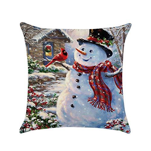 (soAR9opeoF Pillow Case, Cartoon Christmas House Snowman Throw Pillow Case Cushion Cover Home Decor 7#)