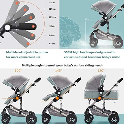 51BQDsfV2nL. AC - 3 In 1 Pushchair Stroller, High Landscape Anti-Shock Baby Stroller, Travel System Infant Carriage,Portable Infant Pram,Compact Convertible Luxury Strollers (Color : Red)