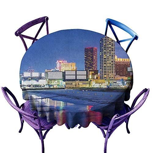ONECUTE Waterproof Table Cover,City Resort Casinos on Shore at Night Atlantic City New Jersey United States,Party Decorations Table Cover Cloth,55 INCH Violet Blue Pink Yellow -