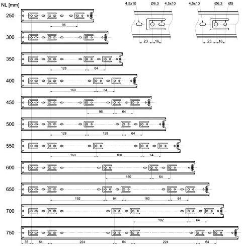 2 x SO-TECH Glissi/ère /à Extension Compl/ète 350 mm 80 Kg Capacit/é de Charge Coulisse de Tiroir