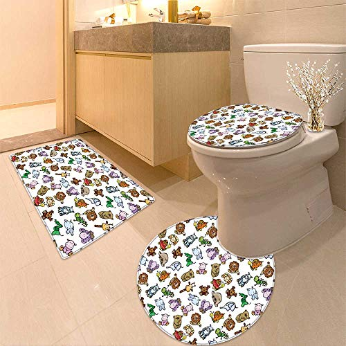 HuaWuhome 3 Piece Extended Bath mat Set Seamless of Cute Baby Animals Increase by HuaWuhome