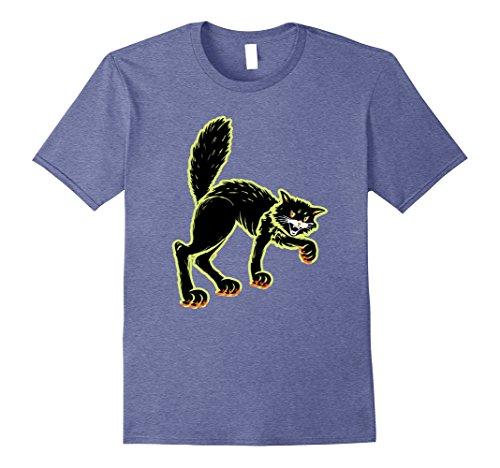 Mens Vintage Black Cat Halloween Decoration Art t-shirt 3XL Heather Blue (Art Halloween Costume Ideas)
